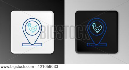 Line Chicken Farm And Location Icon Isolated On Grey Background. Colorful Outline Concept. Vector
