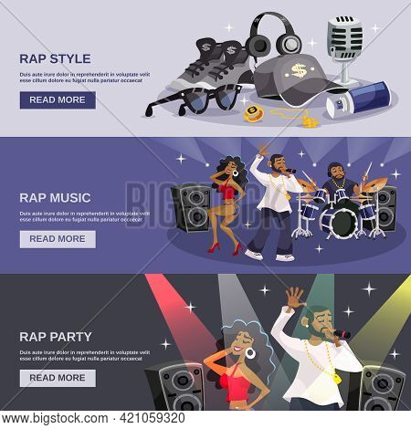 Rap Music Horizontal Banner Set With Hip-hop Style Party Elements Isolated Vector Illustration