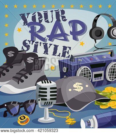 Rap Music Concept With Cartoon Hip-hop Style Elements Vector Illustration