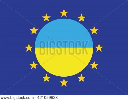 Flags Of The European Union And Ukraine. The Symbol Of Ukraine. The Symbol Of The European Union. St