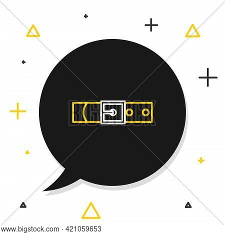 Line Leather Belt With Buttoned Steel Buckle Icon Isolated On White Background. Colorful Outline Con