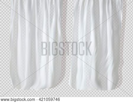 White Lightweight Fabric Curtain Fluttering Realistic Vector Illustration Mock Up. Shower Or Window