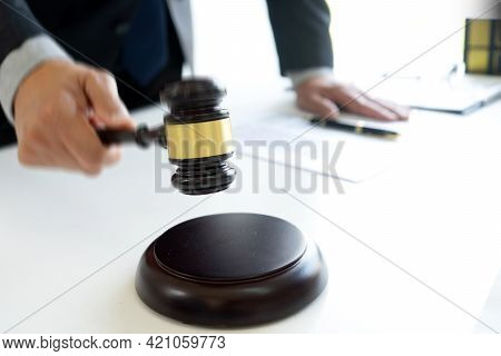The Judge Was Wave Hammering His Hand Gavel Move Down
