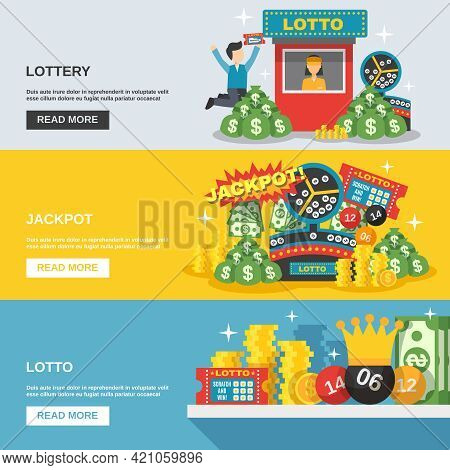 Lottery Horizontal Banner Set With Lotto Jackpot Elements Isolated Vector Illustration