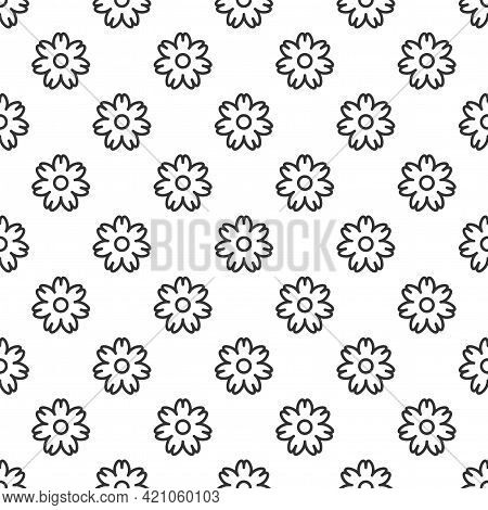 Seamless Daisy Flower Pattern. Black Outline Flat Blossoms On White Background. Vector Symmetric Wal