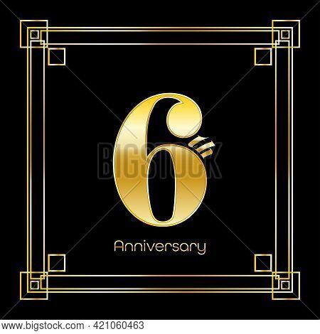 Number Six Logo Design With Square Ornament, Luxury Golden Design, Anniversary Concept, Vector Illus