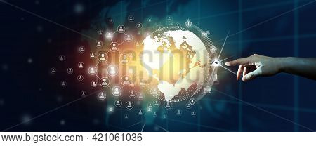 Businessman Leading The Global World Business Community Of Network Communication Connected. Digital