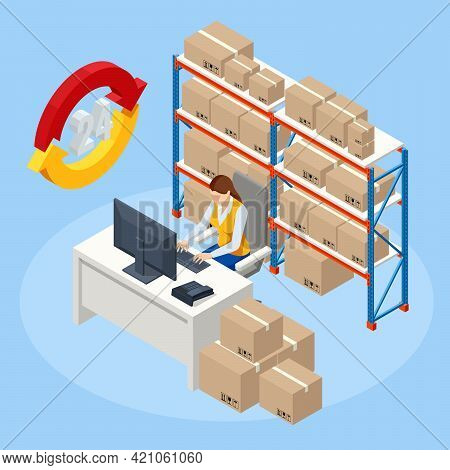 Isometric Woman Working At Computer In On-site Office Of A Warehouse. Staff Managing Warehouse Logis