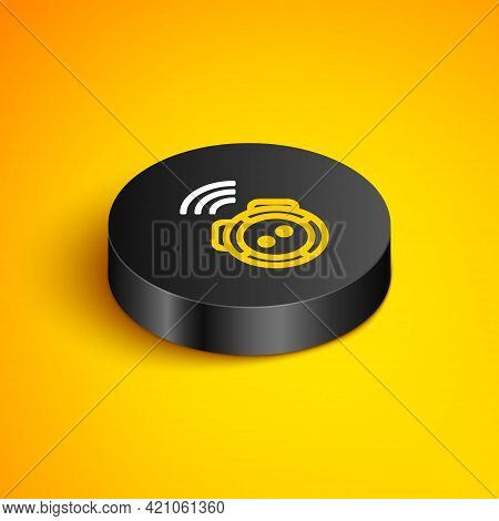 Isometric Line Robot Vacuum Cleaner Icon Isolated On Yellow Background. Home Smart Appliance For Aut