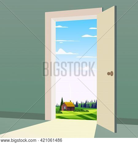 Open Door To Nature Way. Landscape Valley Symbol Freedom, New Way Exit, Discovery, Opportunities. Mo