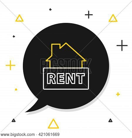 Line Hanging Sign With Text Rent Icon Isolated On White Background. Signboard With Text For Rent. Co