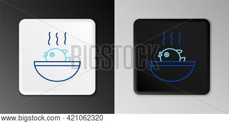Line Puffer Fish Soup Icon Isolated On Grey Background. Fugu Fish Japanese Puffer Fish. Colorful Out