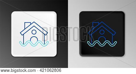 Line House Flood Icon Isolated On Grey Background. Home Flooding Under Water. Insurance Concept. Sec