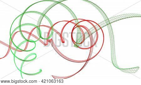 Red And Green Helix Structure On White Background - 3d Rendering Illustration