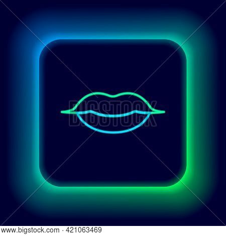 Glowing Neon Line Smiling Lips Icon Isolated On Black Background. Smile Symbol. Colorful Outline Con