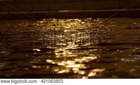 Light Of Lanterns Is Reflected In City Canal At Night. Stock Footage. Light Of Night City Is Reflect