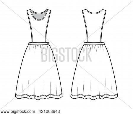 Dress Pinafore Apron Technical Fashion Illustration With Sleeveless, Knee Length Full Skirt. Flat Ap