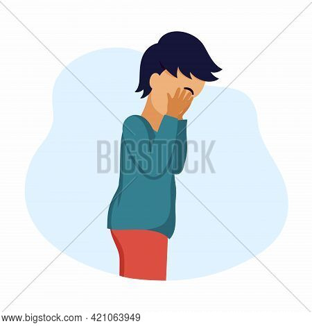 Little Boy Is Crying. Sad Child. Vector Character In Cartoon Style.
