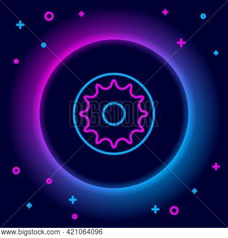 Glowing Neon Line Chakra Icon Isolated On Black Background. Colorful Outline Concept. Vector