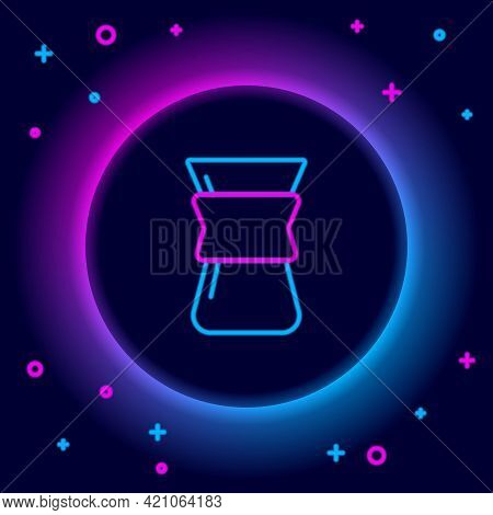 Glowing Neon Line Pour Over Coffee Maker Icon Isolated On Black Background. Alternative Methods Of B