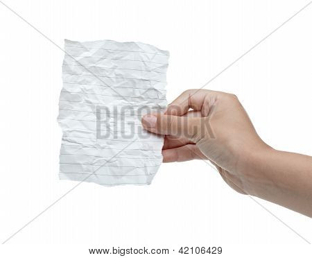 Hand Holding Blank Crumpled Message Note