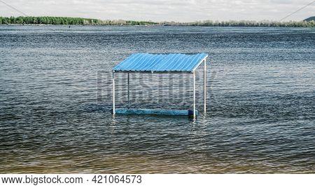 Spring Flood Of The Volga River, Gazebo In The Water