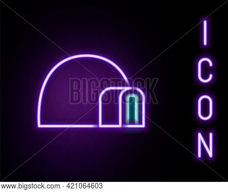 Glowing Neon Line Igloo Ice House Icon Isolated On Black Background. Snow Home, Eskimo Dome-shaped H
