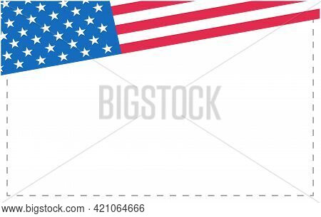 American Flag Symbols Background Frame Border Corner With Empty Space For Your Text.