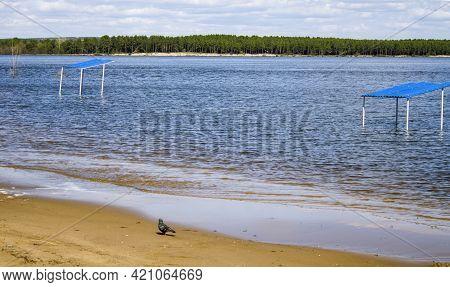 Spring Flood Of The Volga River, Flooded Gazebos On The Shore