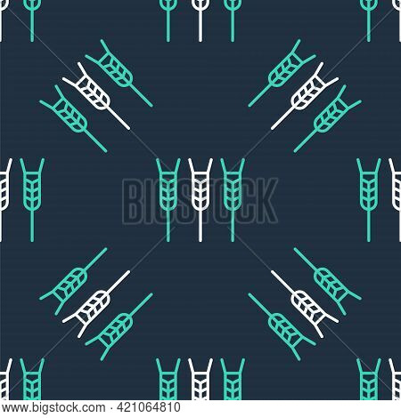 Line Cereals Set With Rice, Wheat, Corn, Oats, Rye, Barley Icon Isolated Seamless Pattern On Black B