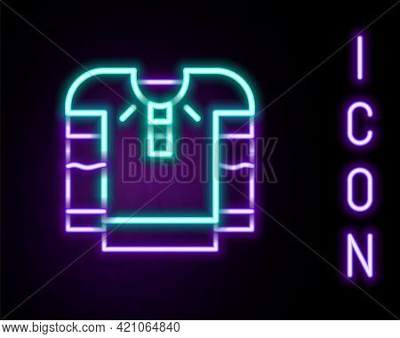 Glowing Neon Line Embroidered Shirt Icon Isolated On Black Background. National Ukrainian Clothing.
