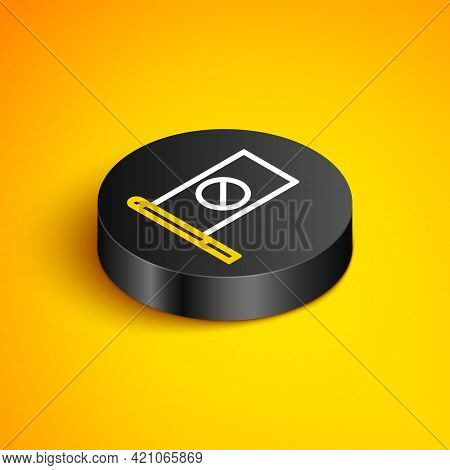 Isometric Line Protest Icon Isolated On Yellow Background. Meeting, Protester, Picket, Speech, Banne