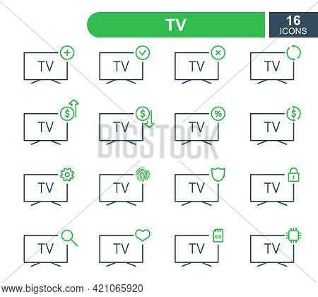 Set Of Simple Tv Line Icons. Television Repair Service, Sale, Loan, Renovation And Update System Lin