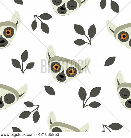 Seamless Pattern With Heads Of Lemurs On A White Background. Exotic Cute Animals Of Madagascar And A