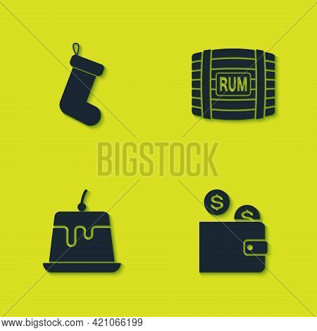 Set Christmas Sock, Wallet With Coin, Pudding Custard And Wooden Barrel Rum Icon. Vector