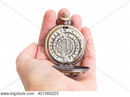 Human Hand Holding An Antique Pocket Watch With A Swirled Watch Face. Droste Effect, Creative Time L