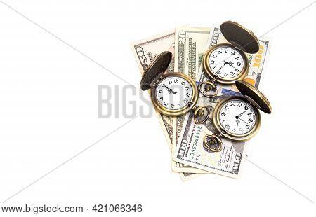 Three Antique Pocket Watches And Dollar Bills Isolated On White. Time Is Money Concept.