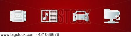 Set Wooden Barrel For Wine, Music Book With Note, Car And Ftp Sync Refresh Icon. Vector