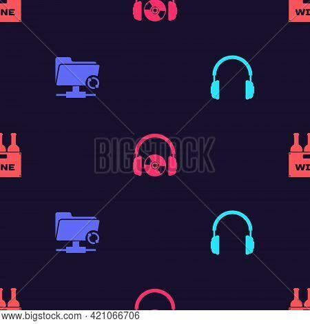 Set Headphones, Ftp Sync Refresh, And Cd Or Dvd And Bottles Of Wine In Box On Seamless Pattern. Vect