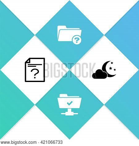 Set Unknown Document, Ftp Operation Successful, Directory And Cloud With Moon And Stars Icon. Vector