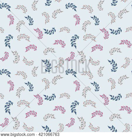 Branches And Berries Toss Seamless Vector Pattern