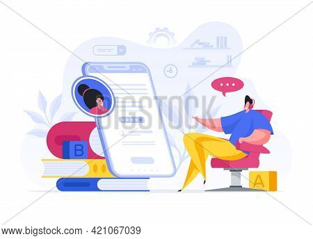 Colorful Vector Illustration Of Cartoon Guy In Headphones Speaking With Online Tutor While Using Edu