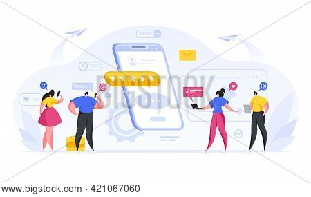 Colorful Vector Illustration Of Flat People Communicating With Each Other In Social Media Online Whi