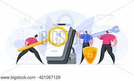 Colorful Vector Illustration Of Team Of Male Programmers Creating And Testing Modern Security Softwa