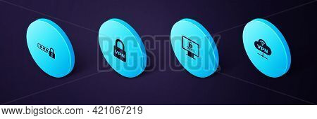 Set Isometric Vpn Network Cloud Connection, Monitor With Password, Lock And Password Protection Icon