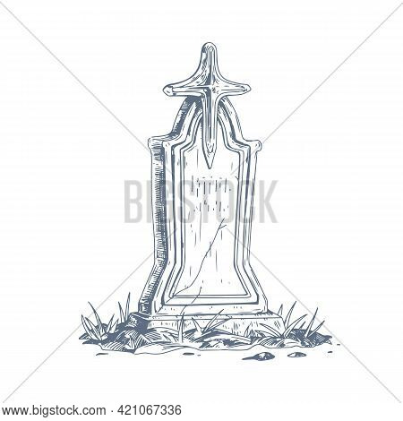 Cemetery Gravestone With Stone Cross. Sketch Of Old Medieval Religious Tombstone In Vintage Style. A
