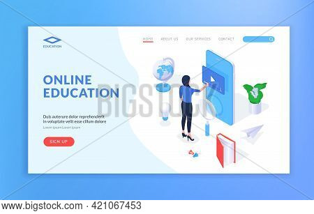 Online Education Landing Page Banner Template. Isometric Vector Illustration With Female Student Usi