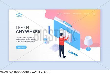 Learn Anywhere Website Banner Template. Vector Design Of Isometric Website Banner With Man Reading B