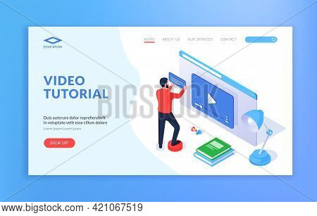 Video Tutorial Website Banner Template. Web Page Template With Male Cartoon Character Learning Onlin