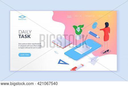 Daily Tasks Mobile Application Advertising Landing Page Banner Template. Vector Isometric Illustrati